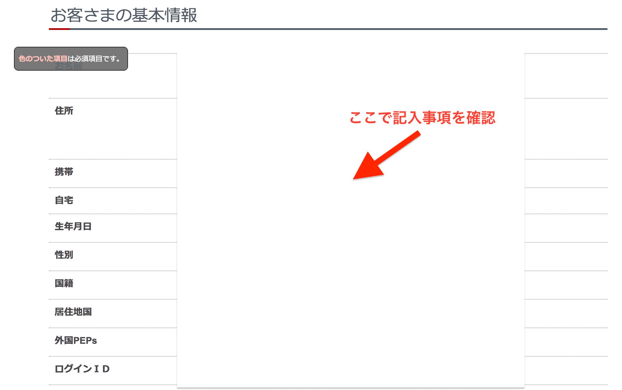 岡三オンライン証券口座開設記入事項の確認