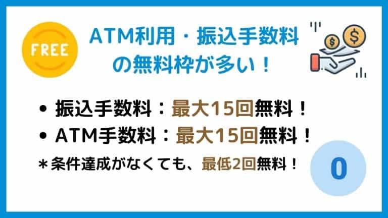 ATM利用・振込手数料の無料枠が多い【GMOあおぞらネット銀行】