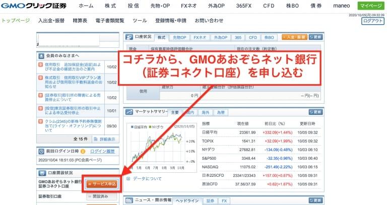 GMOクリック証券のトップページからGMOあおぞらネット銀行の口座開設申し込み|GMOクリック証券とGMOあおぞらネット銀行の連携