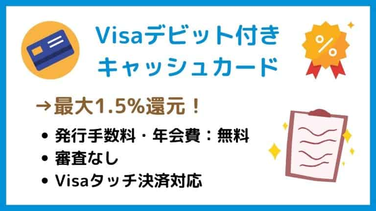 Visaデビットカードで最大1.5%還元!