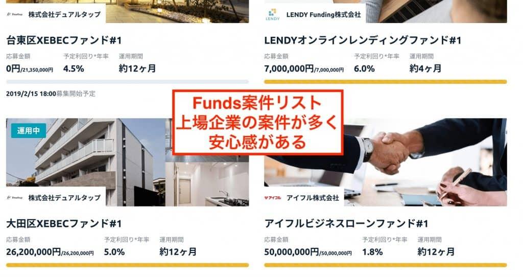 Funds案件リスト|デュアルタップ・アイフルなど上場企業の事業・案件が中心