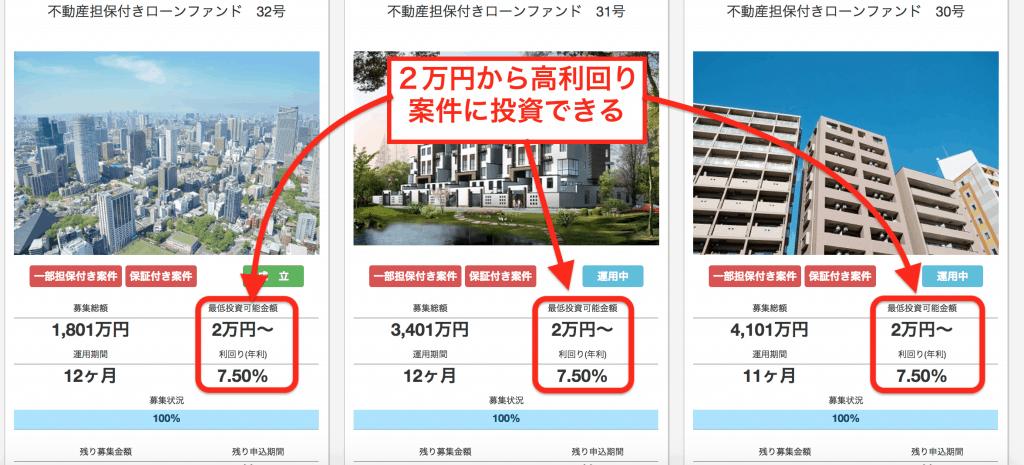 LENDEX(レンデックス)案件リスト|2万円など少額から高利回りの短期案件に投資できる