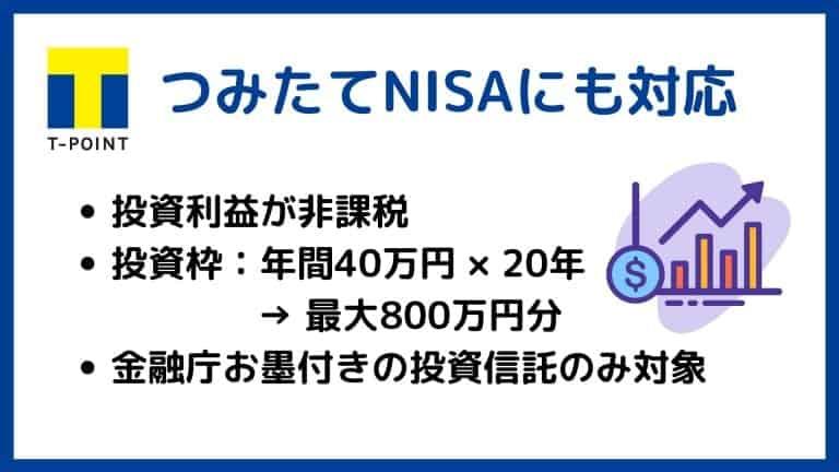 SBI証券Tポイント投資はつみたてNISAに対応