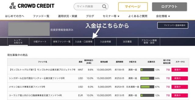 マイページの「入金」タブから振込口座を確認|クラウドクレジット