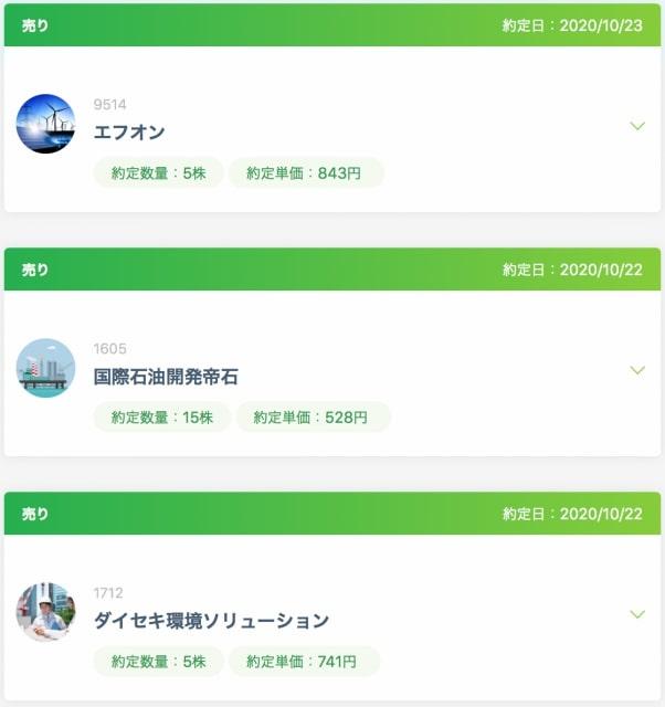 ネオモバ取引【2020年10月23日】エフオンの他、多くの銘柄を売却