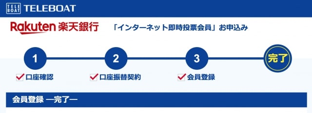 TELEBOAD登録完了画面|楽天銀行