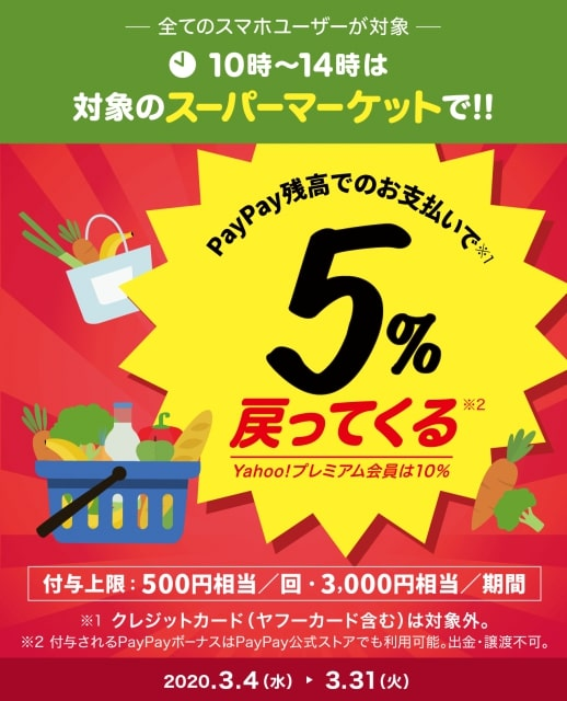 【ワクワクペイペイ】スーパーで最大10%還元