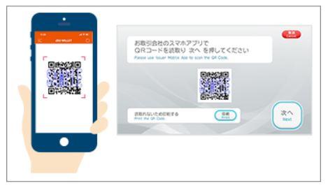 ATMに表示されたQRコードを読み取り|セブン銀行ATMからチャージ