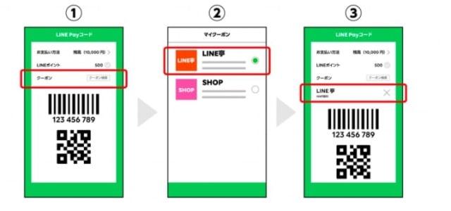 LINEPayのクーポンの利用方法