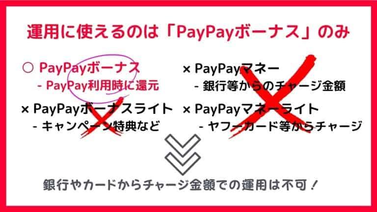 PayPayボーナス運用のデメリット1:運用で使えるのは「PayPayボーナスのみ」