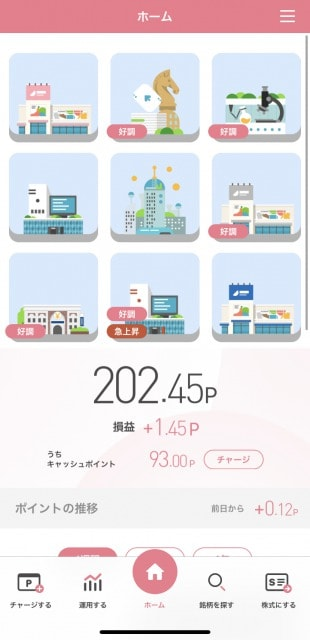 StockPoint for CONNECTのアプリのトップページ