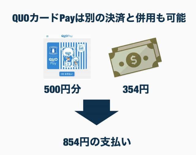 クオ・カードペイは現金などと併用して利用可能