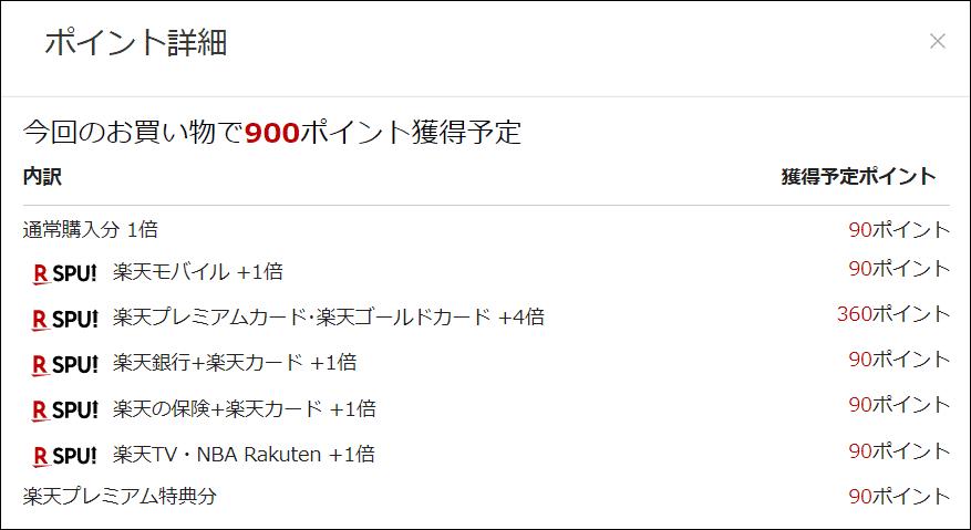 楽天市場で9,000円で購入した場合の楽天ポイントの還元