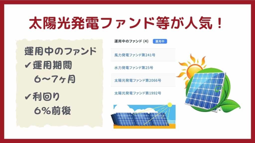 クラウドバンクでは太陽光発電ファンドが人気!