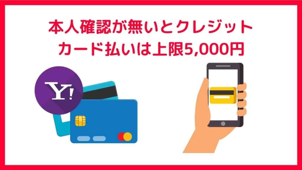 PayPayのデメリット:本人確認が無い場合、クレジットカード払いの上限が5,000円