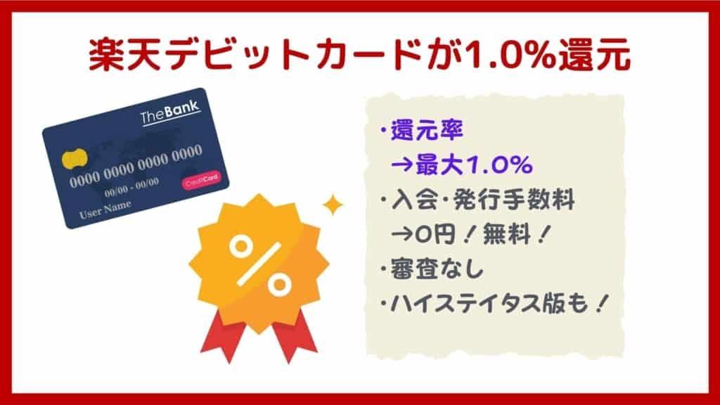 楽天銀行メリット:デビットカードで1.0%還元!