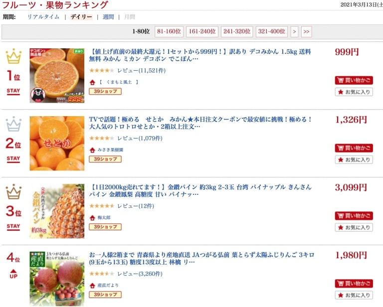 人気ランキング(果物・フルーツ)の例