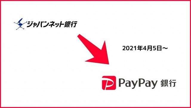 ジャパンネット銀行からPayPay銀行へ