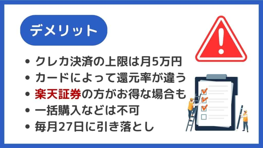 SBI証券クレカ積立のデメリット