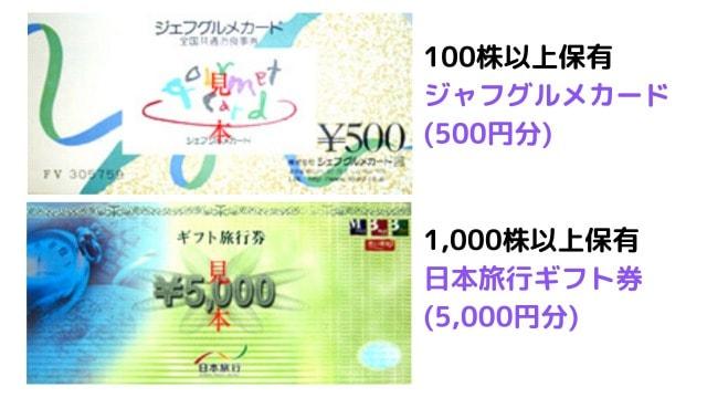 ニイタカの5月優待:金券(グルメカードなど)
